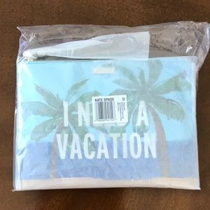 """NWT Kate Spade """"I Need a Vacation"""" Pouch"""